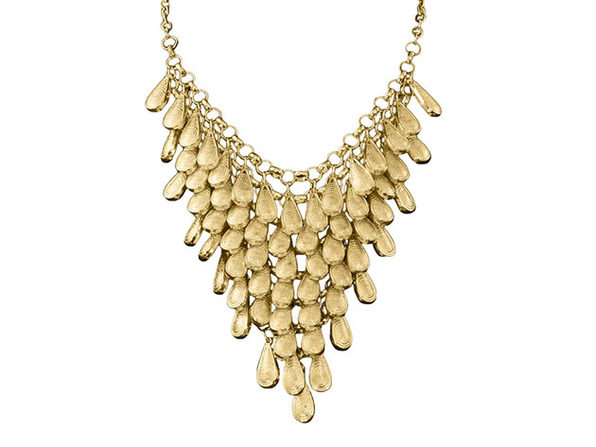 "Gold Teardrop Bib Necklace By ""The Countess"" Luann de Lesseps"