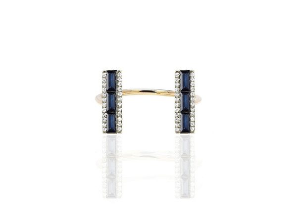 Homvare Women's 925 Sterling Silver Open Cuff Ring With Blue Stone - Gold