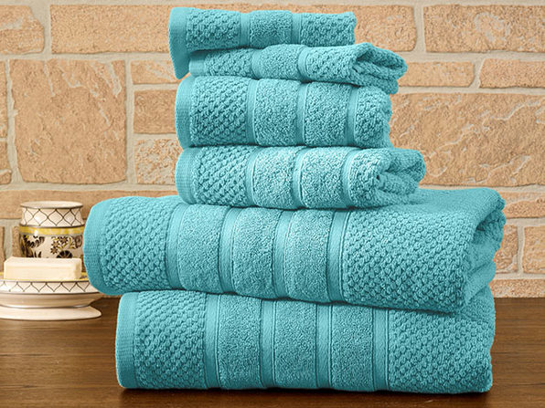 6-Piece Bibb Home 100% Egyptian Cotton Towel Set (Aqua)
