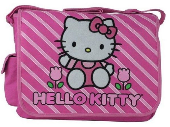 Hello Kitty Large Messenger Sling Laptop Book Bag Pack - Stripes - Product Image