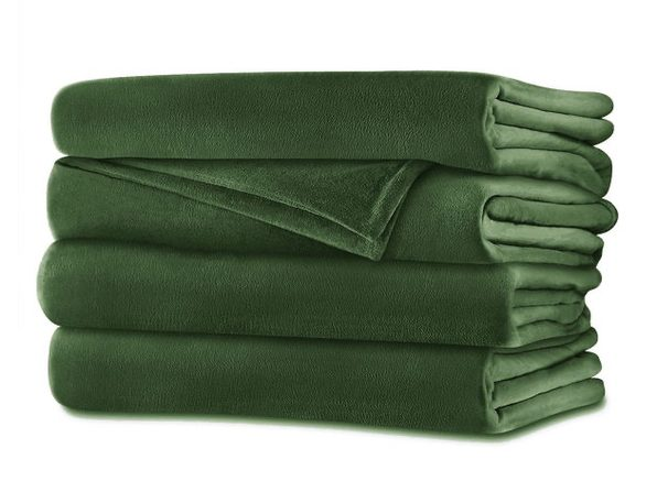 Sunbeam Velvet Plush Electric Heated Blanket King Size Ivy Green Washable Auto Shut Off 20 Heat Settings - Ivy