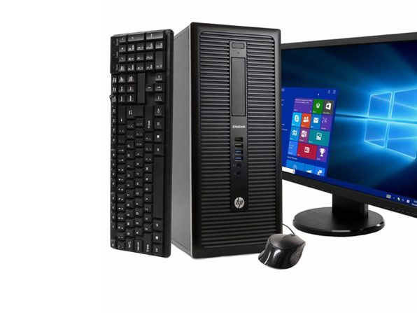 "HP EliteDesk 800 G1 Tower PC, 3.2GHz Intel i5 Quad Core Gen 4, 8GB RAM, 500GB SATA HD, Windows 10 Professional 64 bit, 22"" Widescreen Screen (Renewed)"