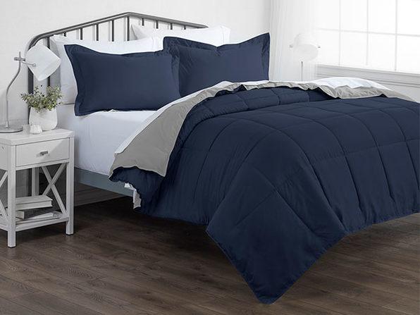 Down Alternative Reversible Comforter Set (Navy & Light Gray | King)