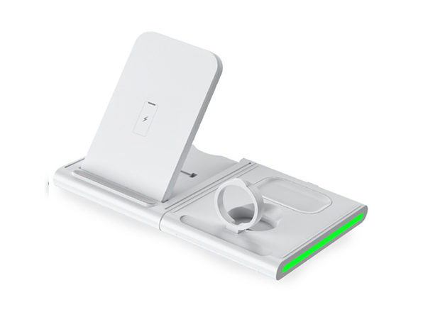 Magnetic Power Tiles: 4-in-1 Wireless Charging Station (White)