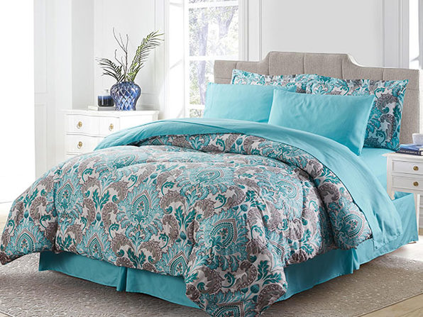 Bibb Home 8-Piece Down Alternative Comforter Set (Chelsea/Queen)