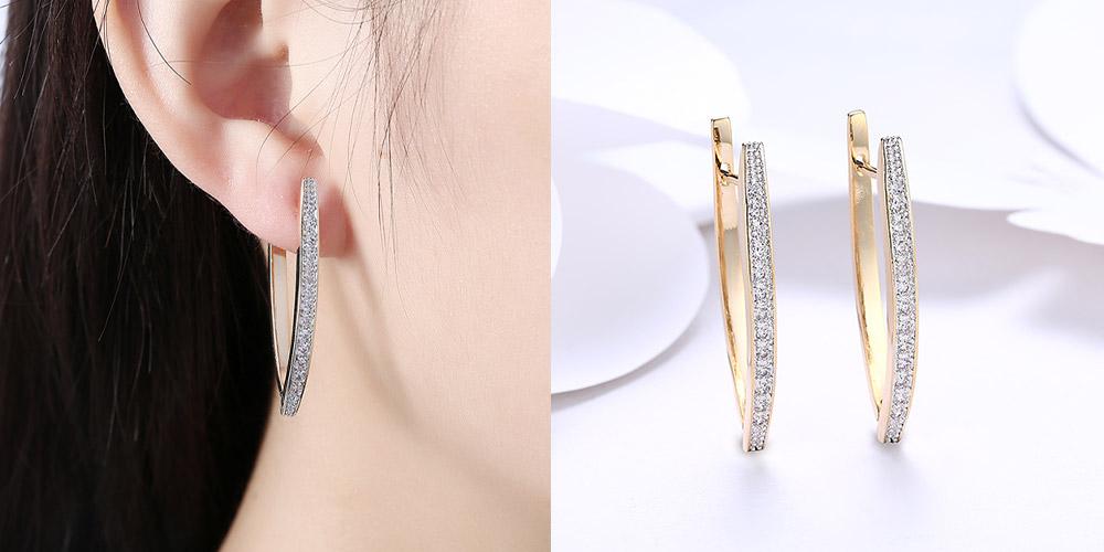 The Swarovski Crystal Micro-Pav'e Curved Huggie Earrings
