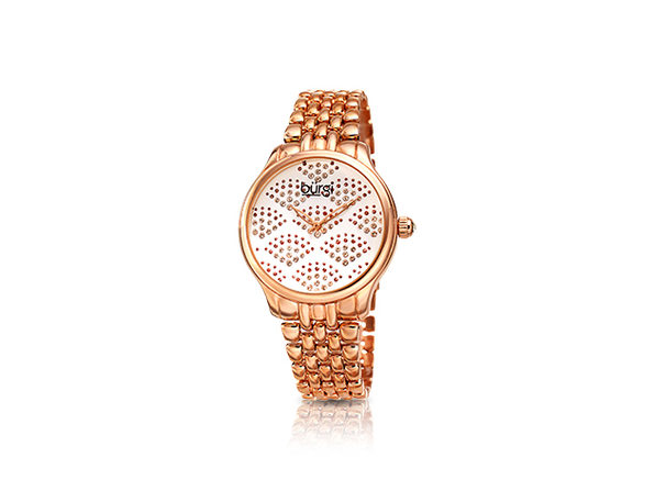 Burgi Swarovski Crystal Diamond Bracelet Watch (Rose Gold)