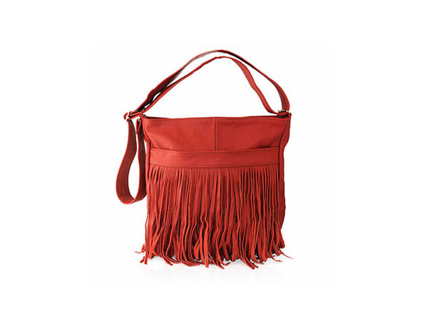 Front-Fringed 100% Leather Messenger Bag (Red)