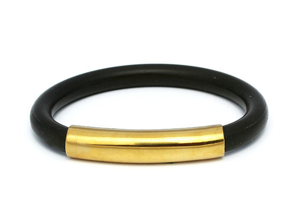nOcean Reuseable Silicone Straw Black Gold - Product Image