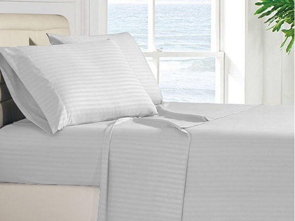 Luxury Ultra Soft 4-Piece Stripe Sheet Set (Grey/King)