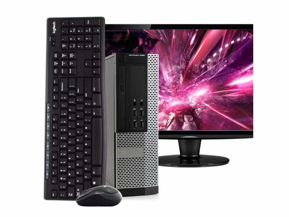 "Dell OptiPlex 9020 Small Form Desktop PC, Intel i5, 8GB RAM, 500GB HDD, Windows 10 Pro, 24"" LCD Monitor, Wireless Keyboard & Mouse, New 16GB Flash Drive, DVD, WiFi (Renewed)"