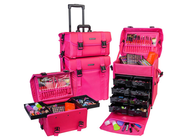 SHANY Soft Makeup Artist Rolling Trolley Cosmetic Case with Free Set of Mesh Bag - SUMMER ORCHID for $249 7
