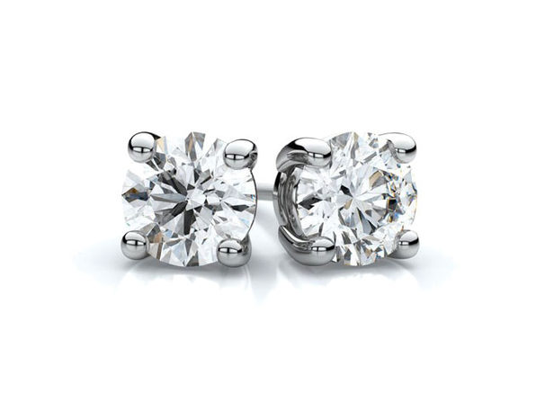 White Gold Sterling Silver 4 Prongs Diamonds Studs Earrings - 3mm - Product Image