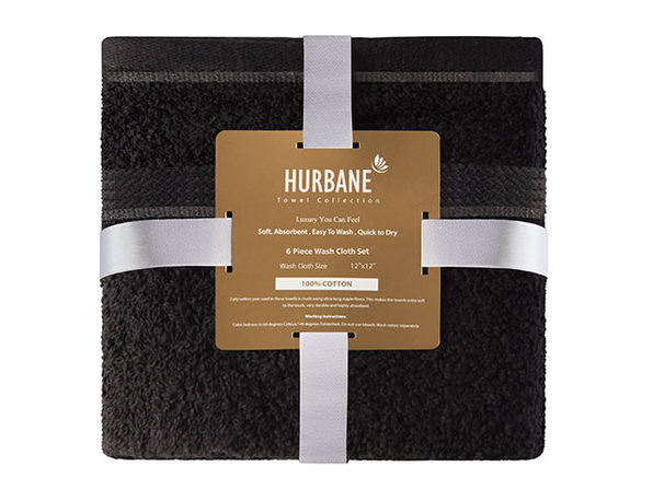 Hurbane Home 6 Piece Washcloth Set Black - Product Image