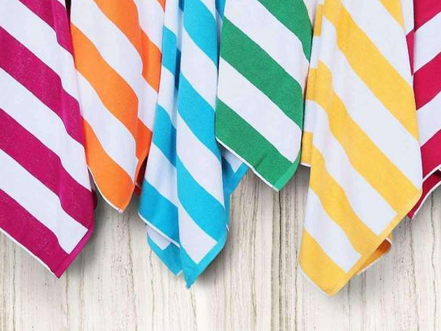 Six colorful striped towels