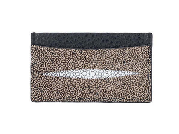 Andre Giroud Exotic Stingray Card Holder - Taupe - Product Image