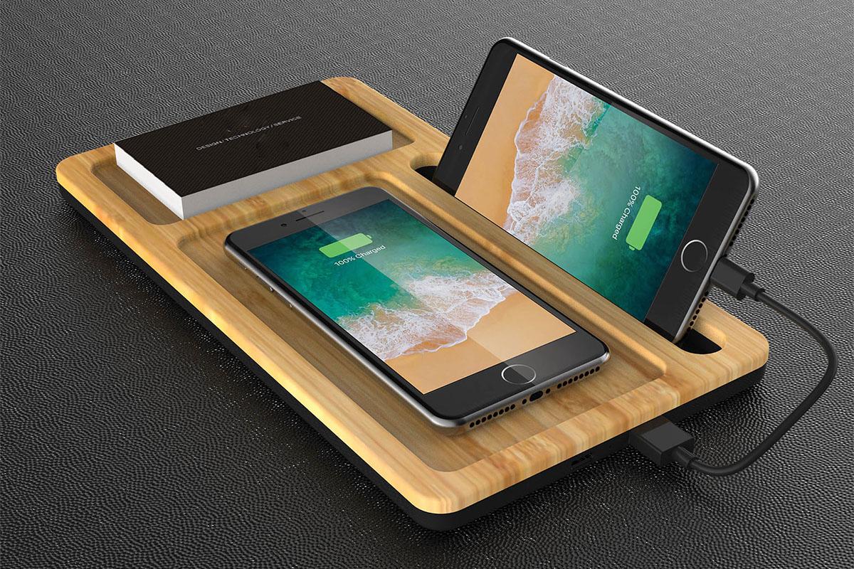 A wireless charging organizer