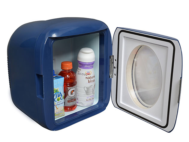 A mini fridge with three beverages inside