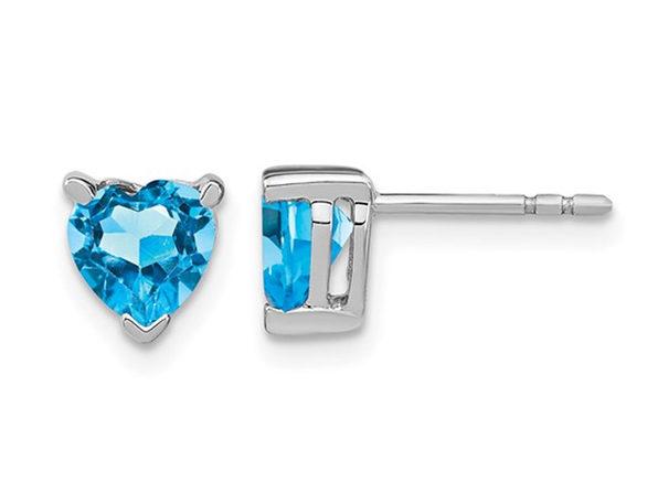 1.50 Carat (ctw) Blue Topaz Heart Stud Earrings in 14K White Gold