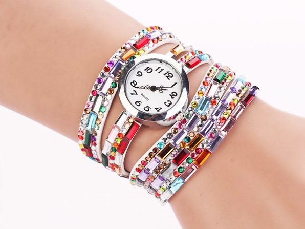 Jeweled Leather Bracelet Watches