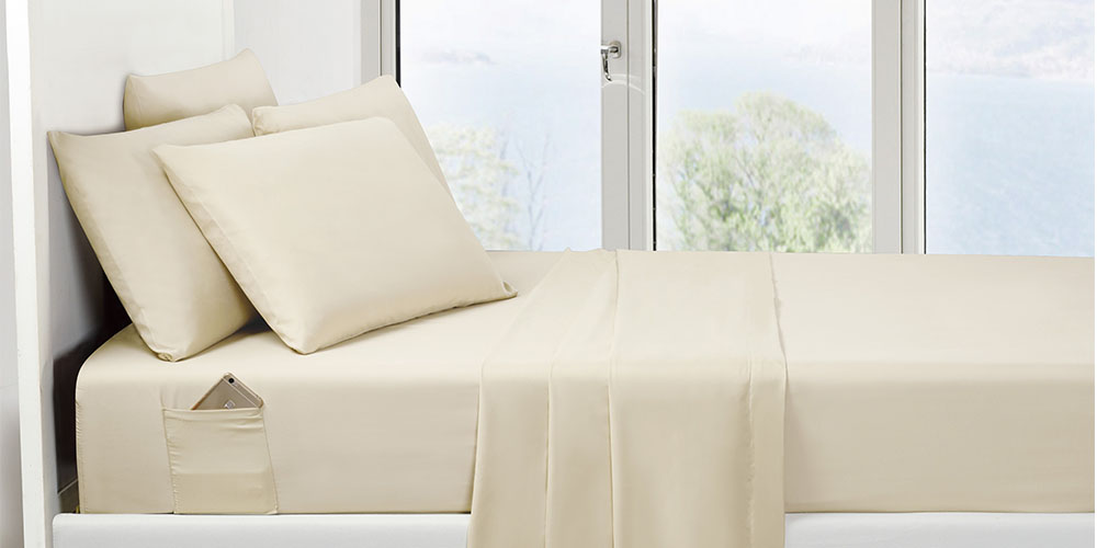 6-Piece Cream Ultra-Soft Bed Sheet Set With Side Pockets, on sale for $29.99 (25% off)