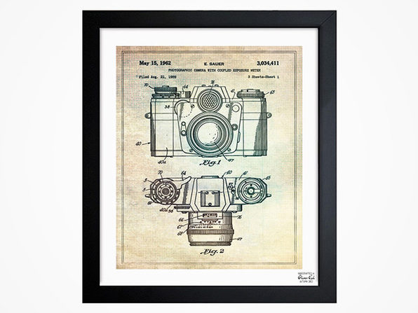 Sauer camera 1962 framed blueprint wall art stacksocial give your space an industrial edge with handcrafted patent inspired 10x 12 prints malvernweather Gallery
