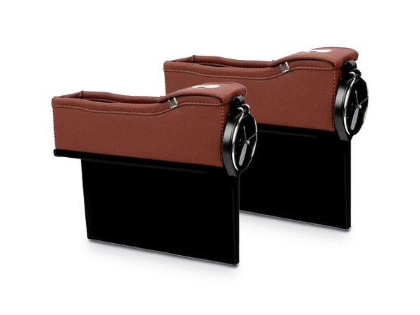 Leather Console Side Pocket Organizer 1-Pair Dark Brown - Product Image