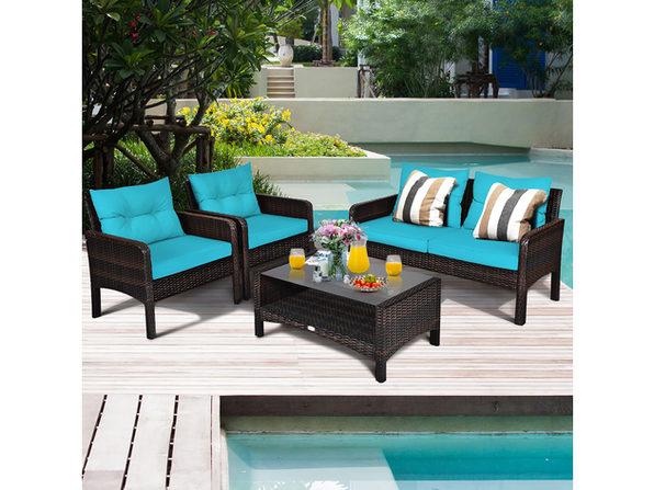 Costway 4pcs Patio Rattan Furniture Set, Turquoise Outdoor Furniture
