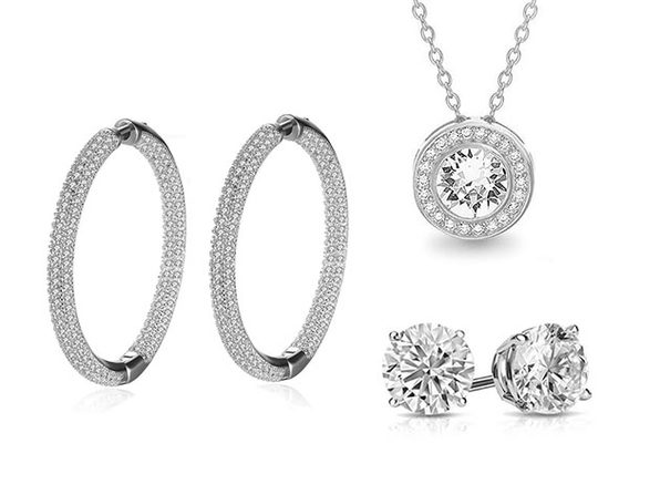 Pave Jewelry 3-Piece Set with Swarovski Crystals (White Gold)