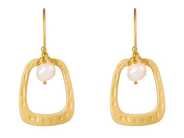 Drop Hoop Earrings Matte Gold with Baroque Pearl