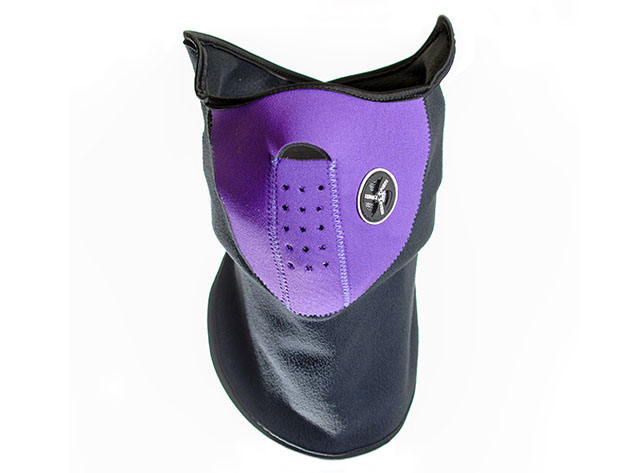 A purple and black face mask