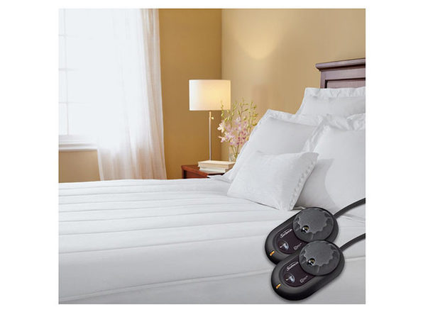 Sunbeam Thermofine Quilted Striped Heated Electric Mattress Pad King Size - White
