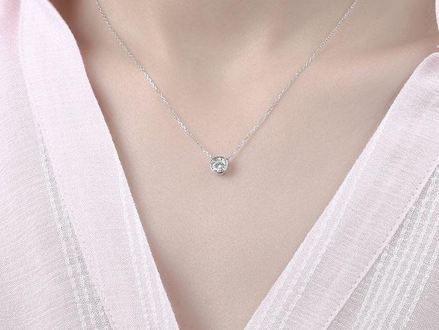 Essentials 0.50CT Lab-Grown Diamond Solitaire Bezel Necklace in 10K White Gold