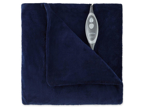 Sunbeam Slumber Rest Electric Heated MicroPlush Warming Throw Blanket DeptAO - Royal Blue