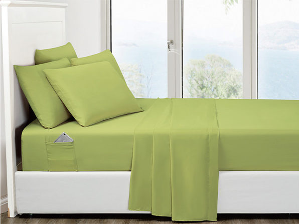 6-Piece Sage Ultra Soft Bed Sheet Set with Side Pockets Full - Product Image