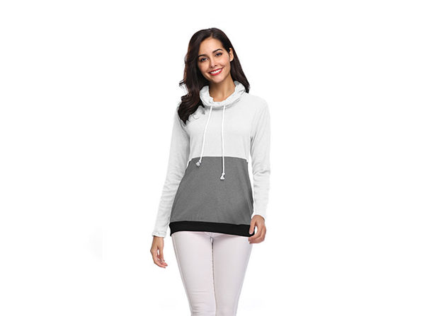 Two-Tone Cowl Neck Pullover with Thumb Holes (White)
