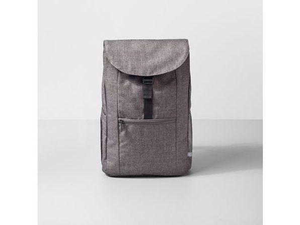 Made By Design Adult Unisex Draw Tight Top Pockets Flat Backpack, 17 Inches, Gray