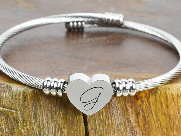 "Heart Cable ""G"" Initial Bracelet"