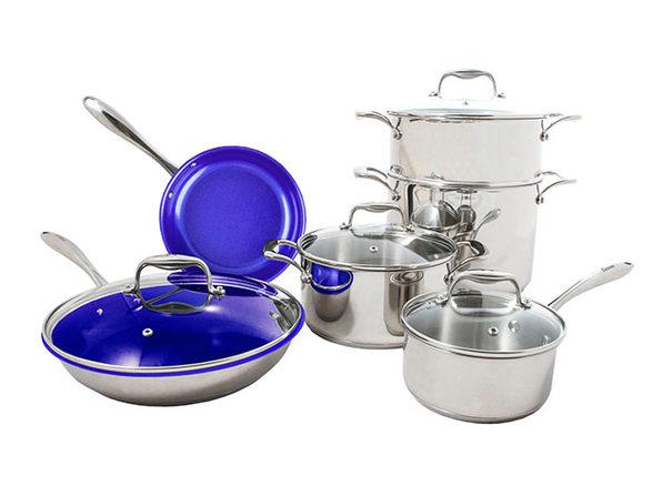 Concentrix 10-Piece Stainless Steel Cookware Set (Cobalt Blue)