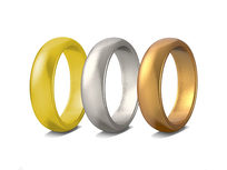 set of 3 unisex rings (Silver, Gold, Bronze and Gold, GunMetal, Bronze) -size 6 - Product Image