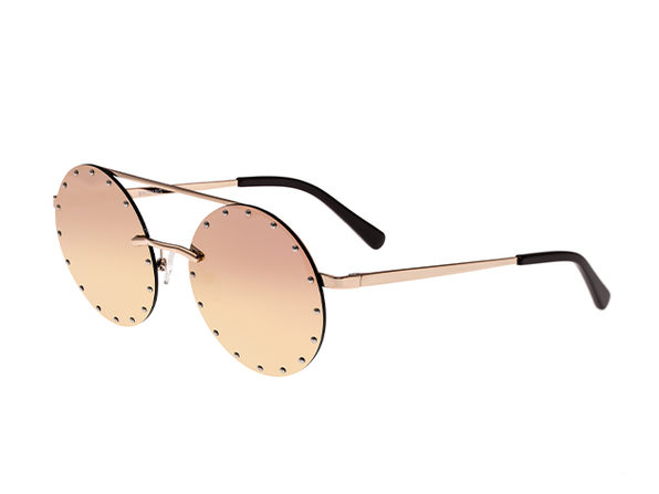 Bertha Harlow Round Metal Sunglasses (Rose Gold Lens)