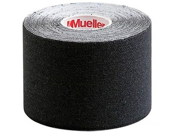 Mueller Kinesiology 100 % Cotton Tape 2 x 16.4 inches, Latex-free & Breathable Elastic, 1 Pack, Universal, Black - Product Image