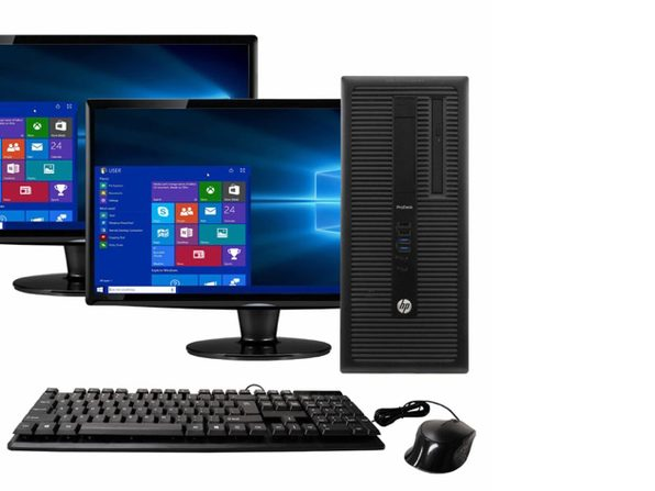 "HP ProDesk 600G1 Tower PC, 3.2GHz Intel i5 Quad Core Gen 4, 16GB RAM, 1TB SATA HD, Windows 10 Professional 64 bit, Dual (2) 22"" Screens Screen (Renewed)"