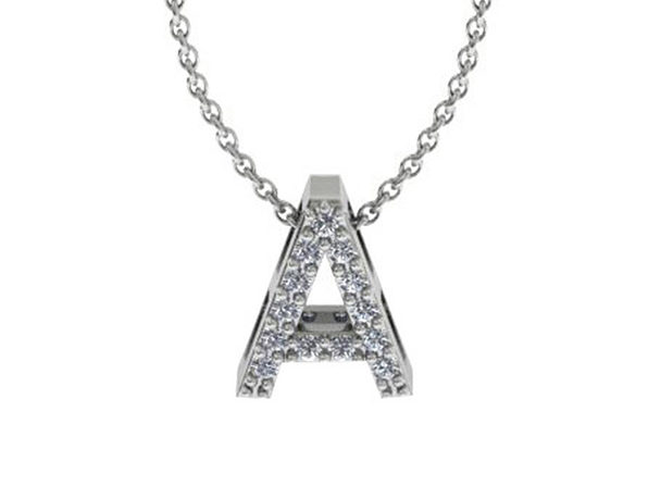 Diamond Initial Necklace In 14K White Gold