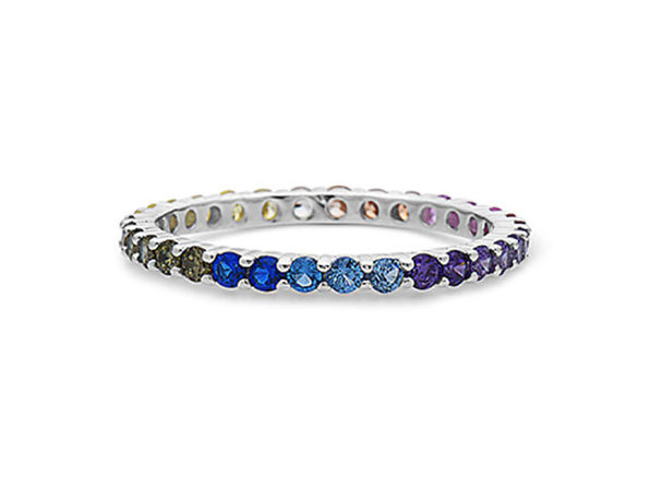 Sterling Silver Multicolored Gemstones Eternity Band Ring