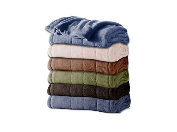 Sunbeam Channeled Microplush Electric Heated Blanket - Twin Full Queen King Size - Slate