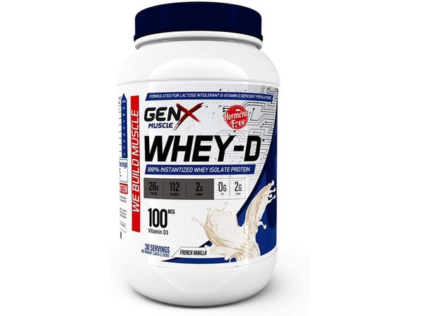 GenX Muscle Whey Isolate Protein French Vanilla Dietary Supplement 2.31 Lbs (30 Servings)