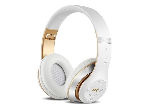 S6 Wireless Bluetooth Headphones (White/Gold)