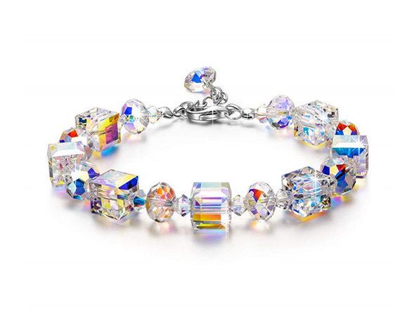 Aurora Borealis Geometric 18K White Gold Plated Bracelet