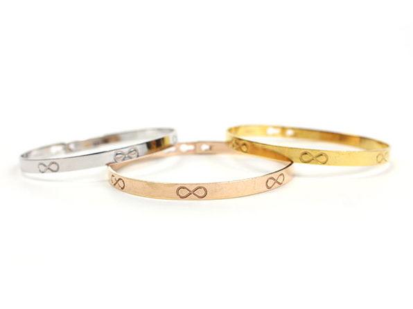 Sterling Silver Stackable Bracelets: Set of 3 (Infinity)